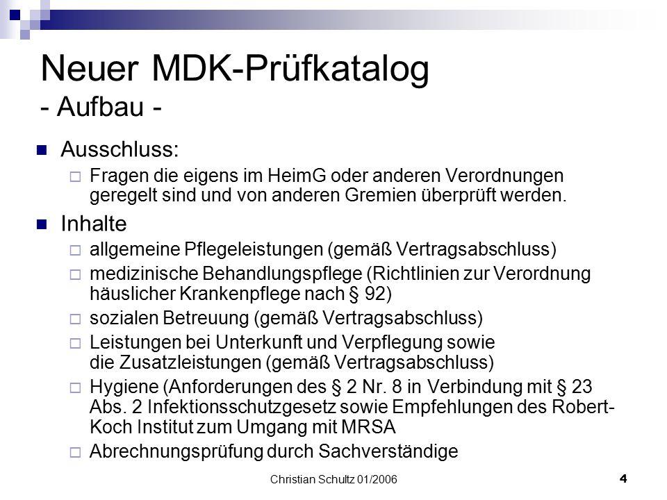 Neuer MDK-Prüfkatalog - Aufbau -