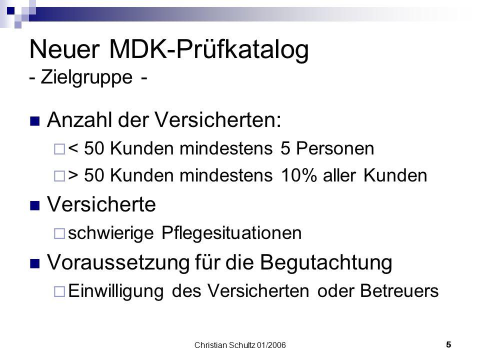 Neuer MDK-Prüfkatalog - Zielgruppe -