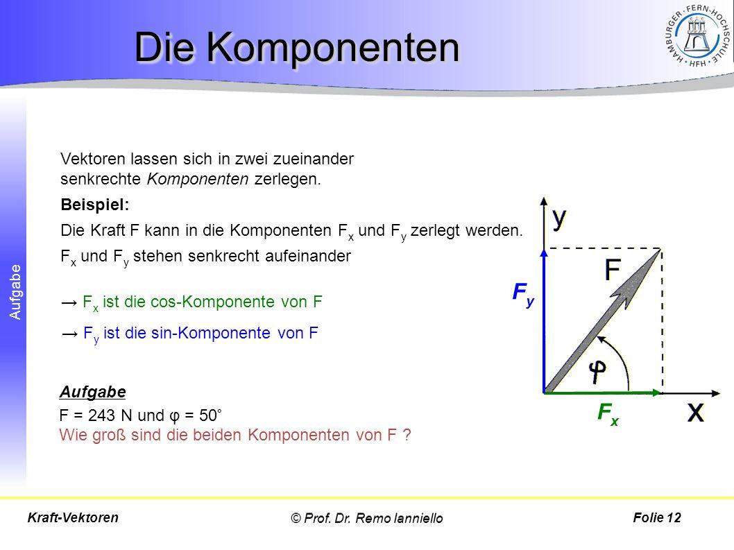 Die Komponenten Vektoren lassen sich in zwei zueinander senkrechte Komponenten zerlegen. Beispiel: