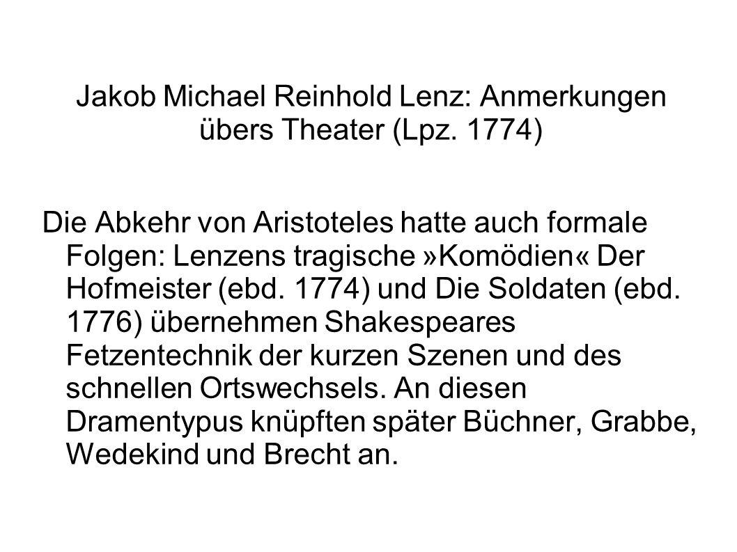 Jakob Michael Reinhold Lenz: Anmerkungen übers Theater (Lpz. 1774)