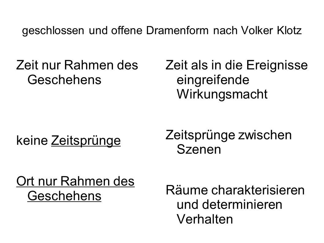 geschlossen und offene Dramenform nach Volker Klotz