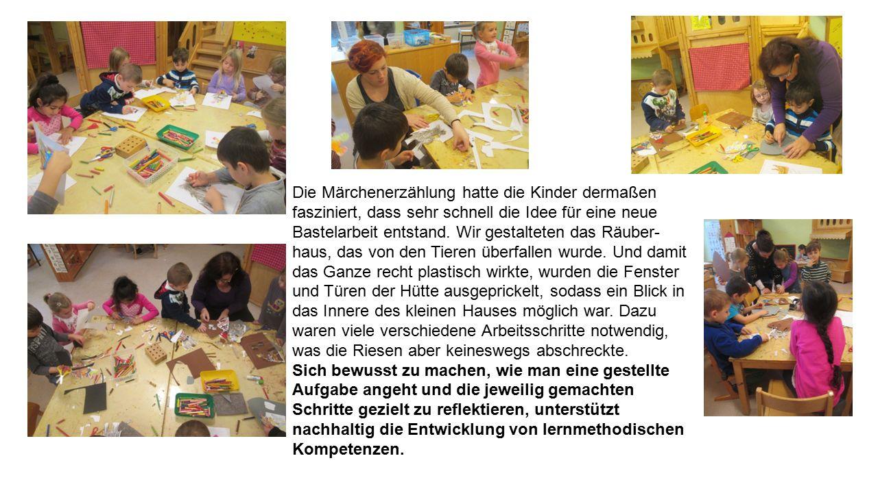 Die Märchenerzählung hatte die Kinder dermaßen fasziniert, dass sehr schnell die Idee für eine neue Bastelarbeit entstand. Wir gestalteten das Räuber-