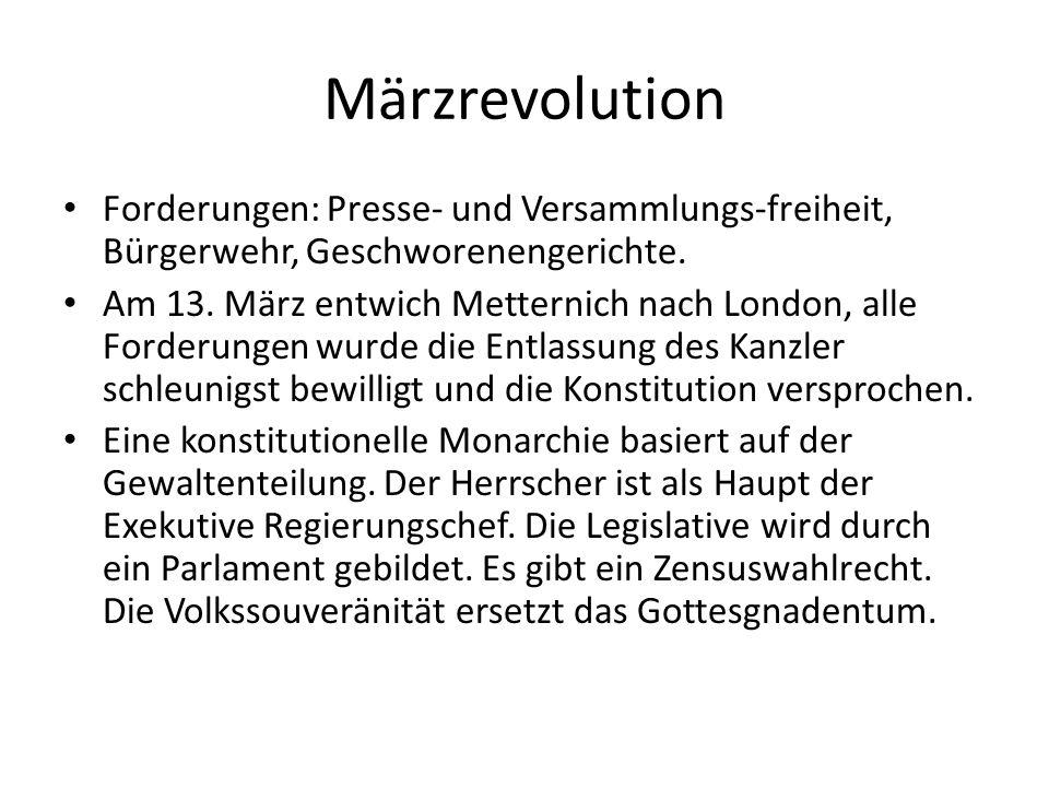 Märzrevolution Forderungen: Presse- und Versammlungs-freiheit, Bürgerwehr, Geschworenengerichte.