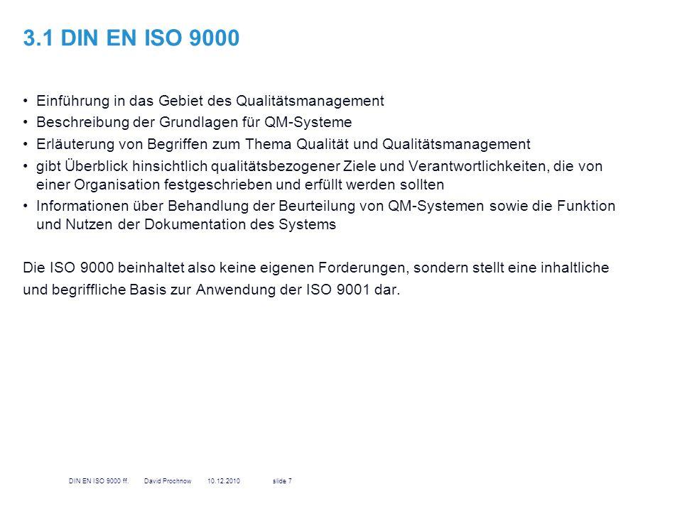 3.1 DIN EN ISO 9000 Einführung in das Gebiet des Qualitätsmanagement