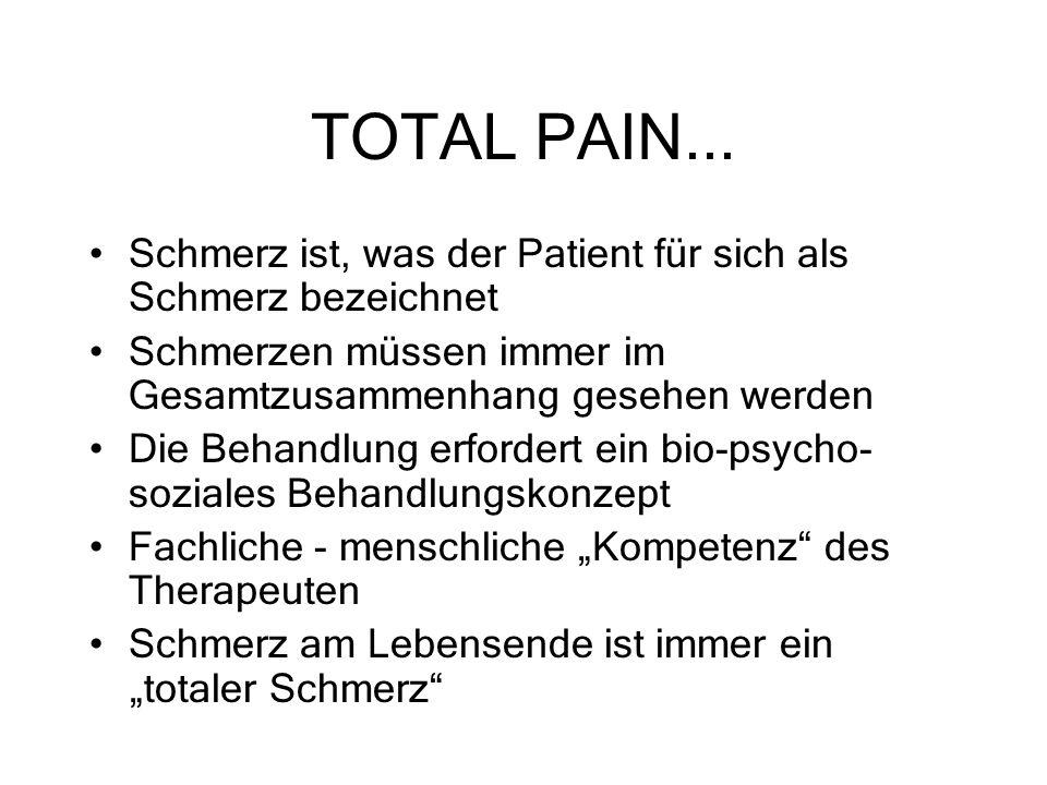 TOTAL PAIN... Schmerz ist, was der Patient für sich als Schmerz bezeichnet. Schmerzen müssen immer im Gesamtzusammenhang gesehen werden.