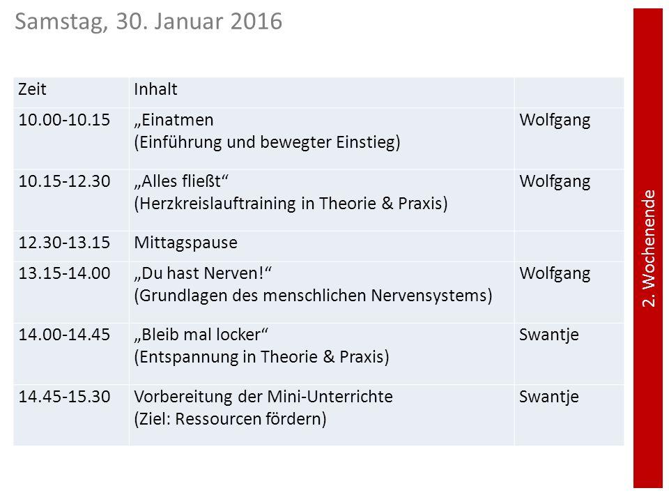 """Samstag, 30. Januar 2016 Zeit Inhalt 10.00-10.15 """"Einatmen"""