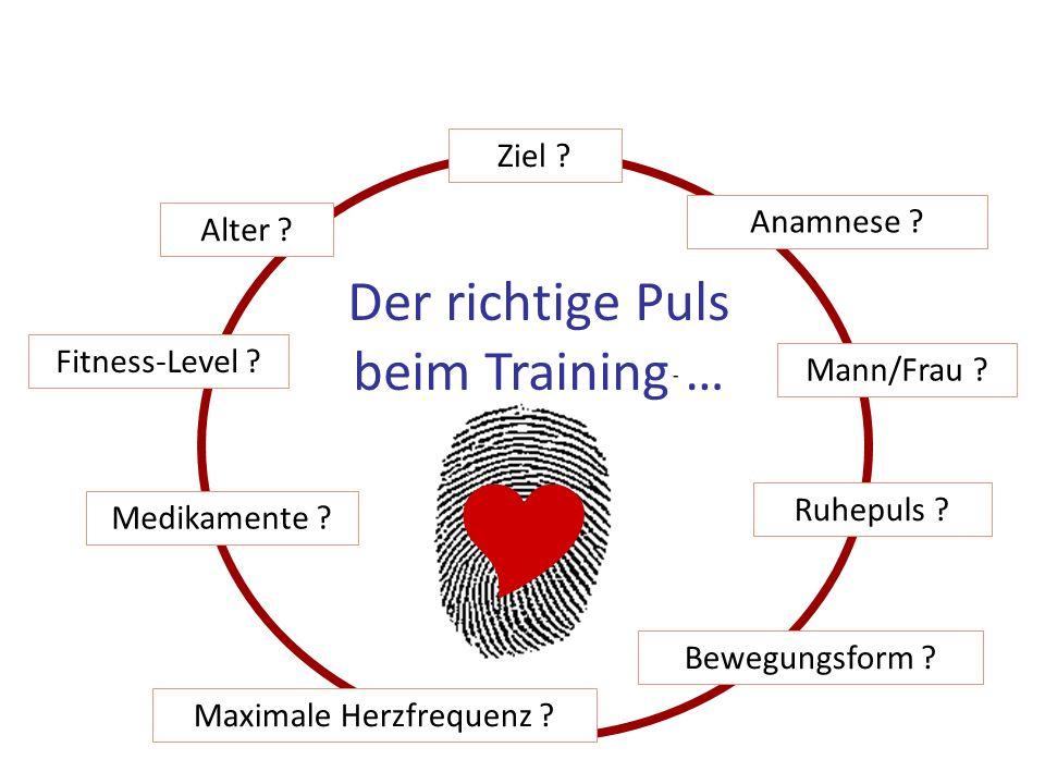  Der richtige Puls beim Training … Ziel Anamnese Alter