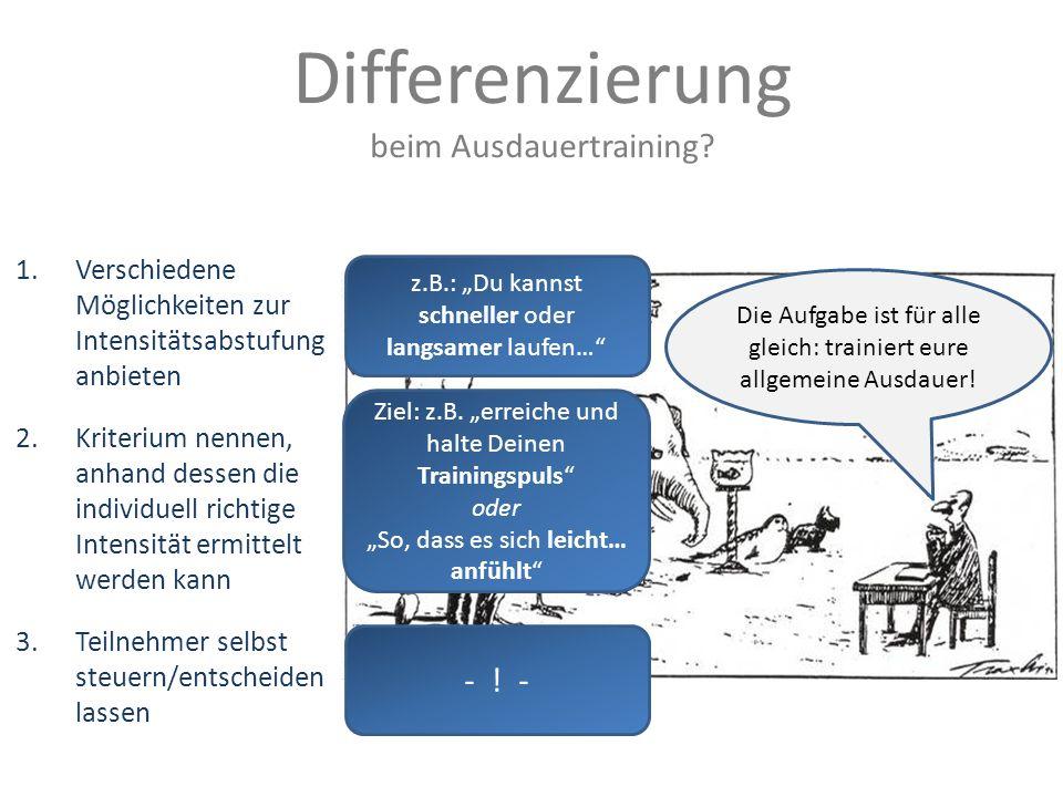 Differenzierung beim Ausdauertraining - ! -