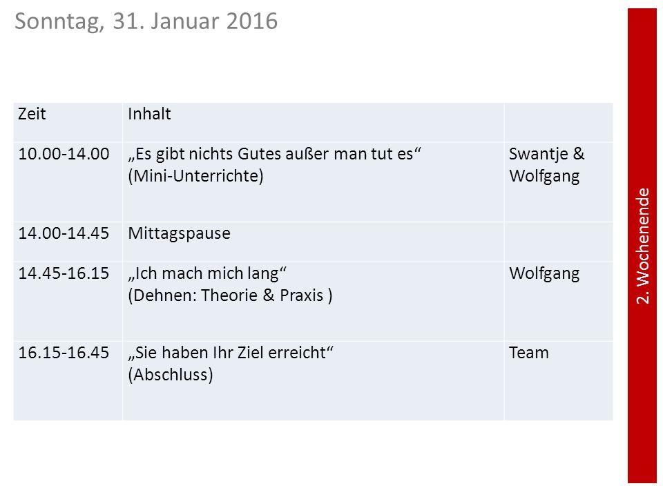 Sonntag, 31. Januar 2016 Zeit Inhalt 10.00-14.00