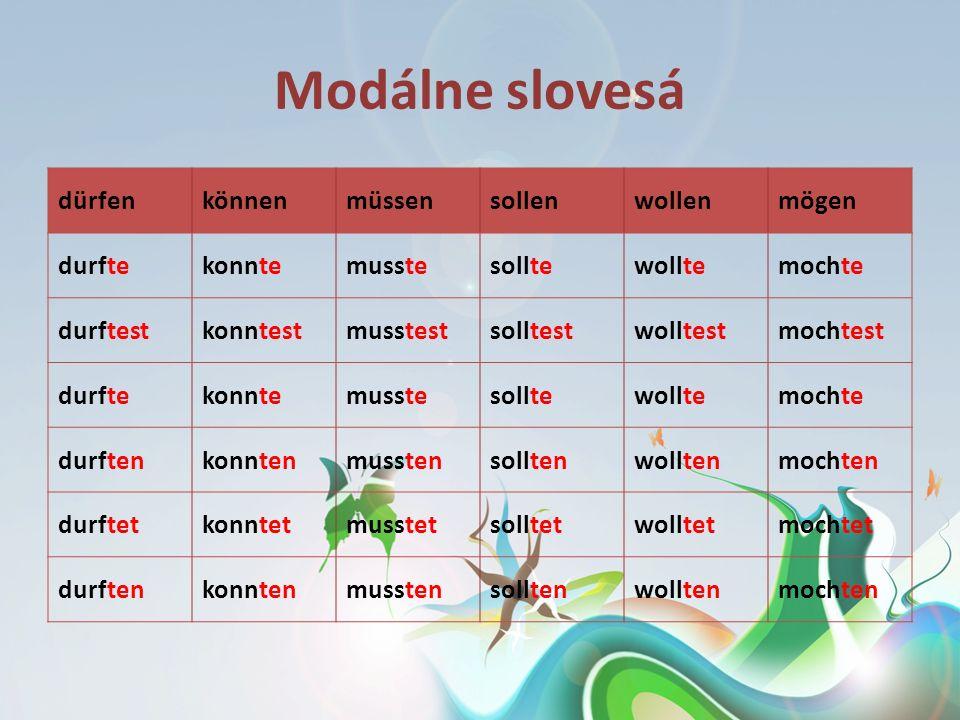 Modálne slovesá dürfen können müssen sollen wollen mögen durfte konnte