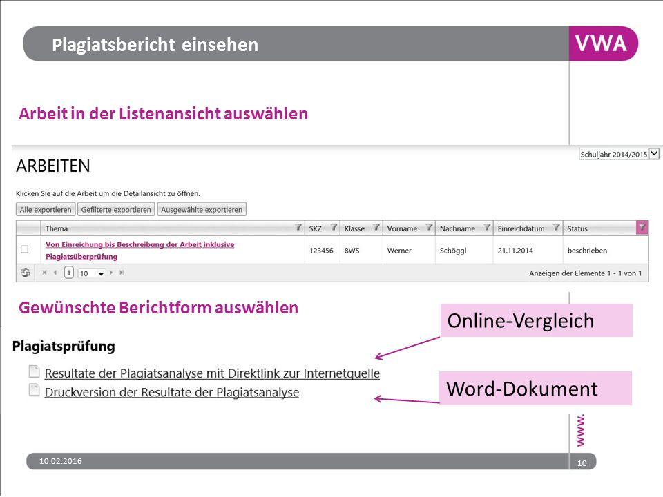 Online-Vergleich Word-Dokument Plagiatsbericht einsehen