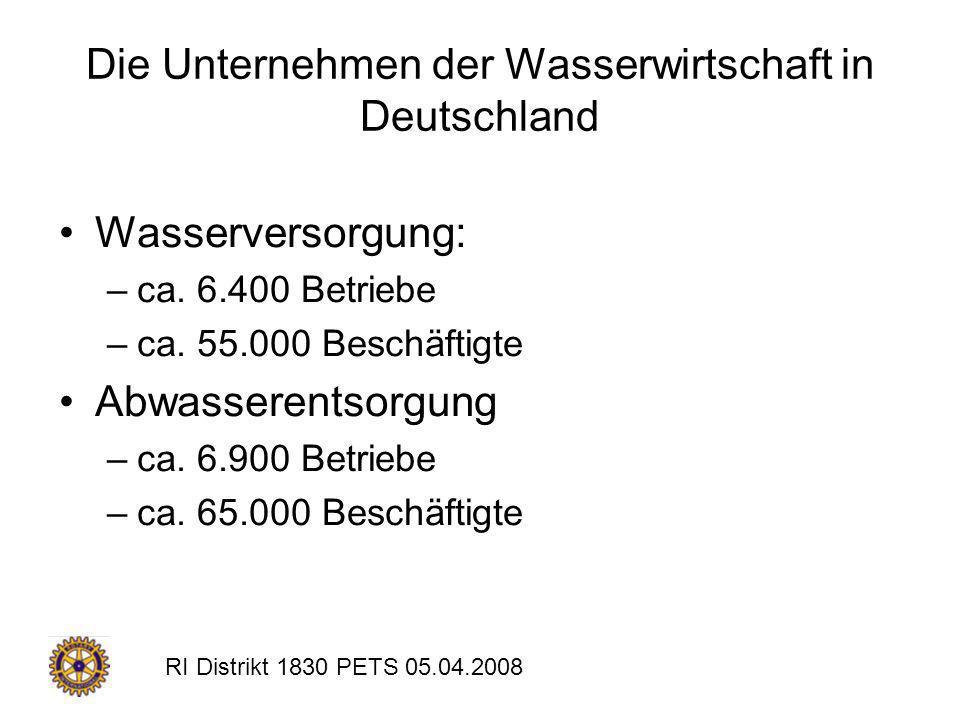Die Unternehmen der Wasserwirtschaft in Deutschland