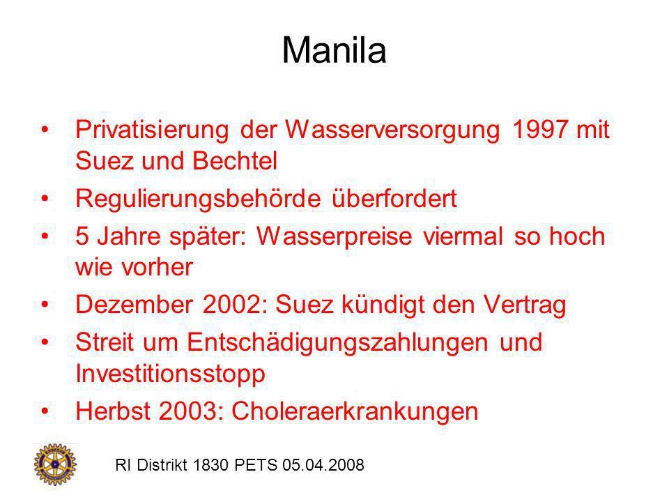 Manila Privatisierung der Wasserversorgung 1997 mit Suez und Bechtel