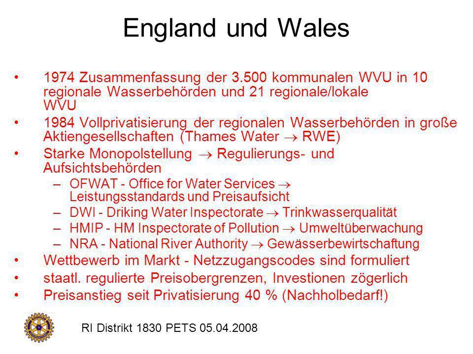 England und Wales 1974 Zusammenfassung der 3.500 kommunalen WVU in 10 regionale Wasserbehörden und 21 regionale/lokale WVU.