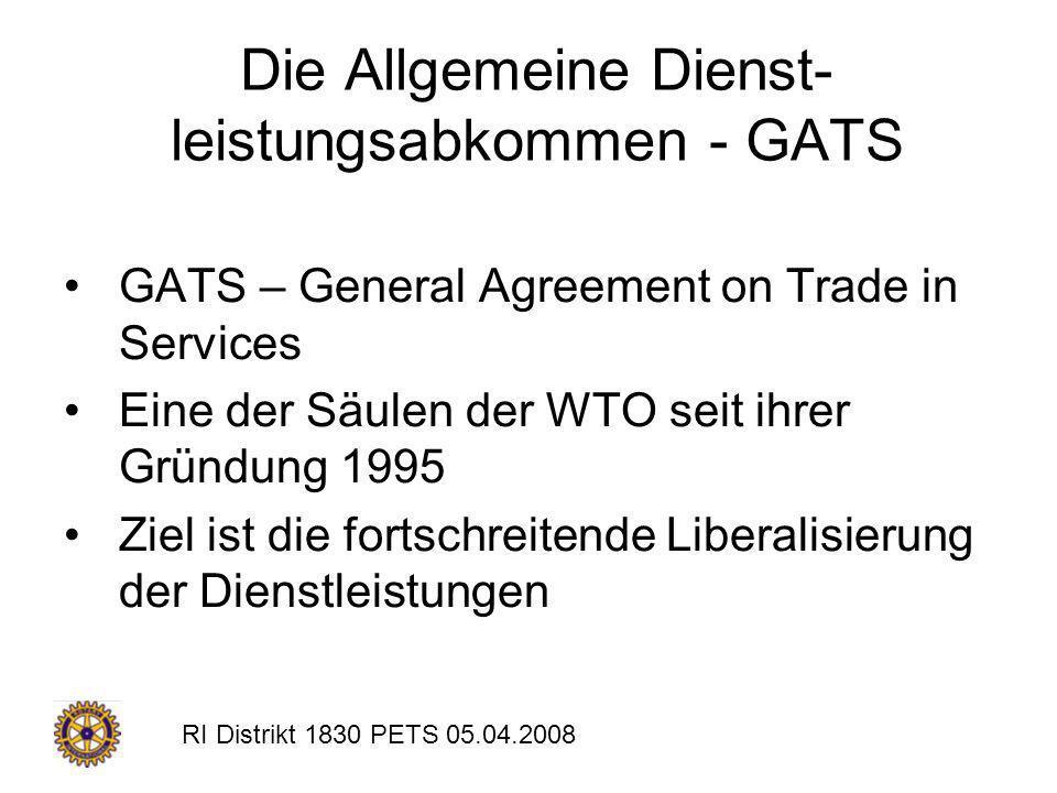 Die Allgemeine Dienst- leistungsabkommen - GATS