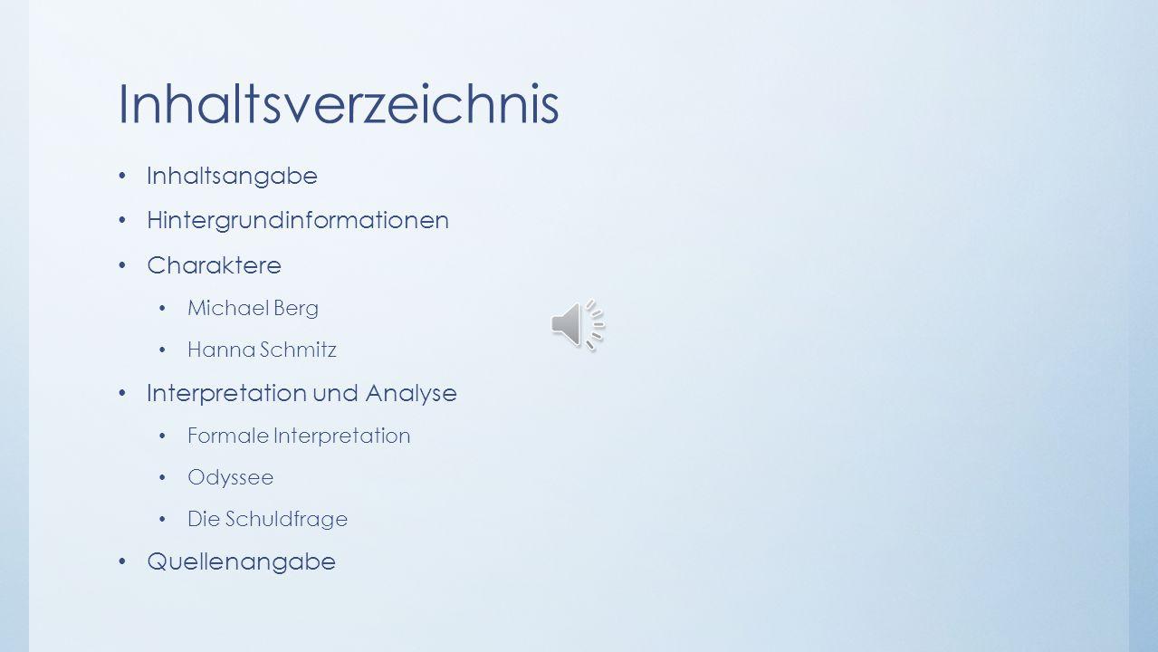 Inhaltsverzeichnis Inhaltsangabe Hintergrundinformationen Charaktere