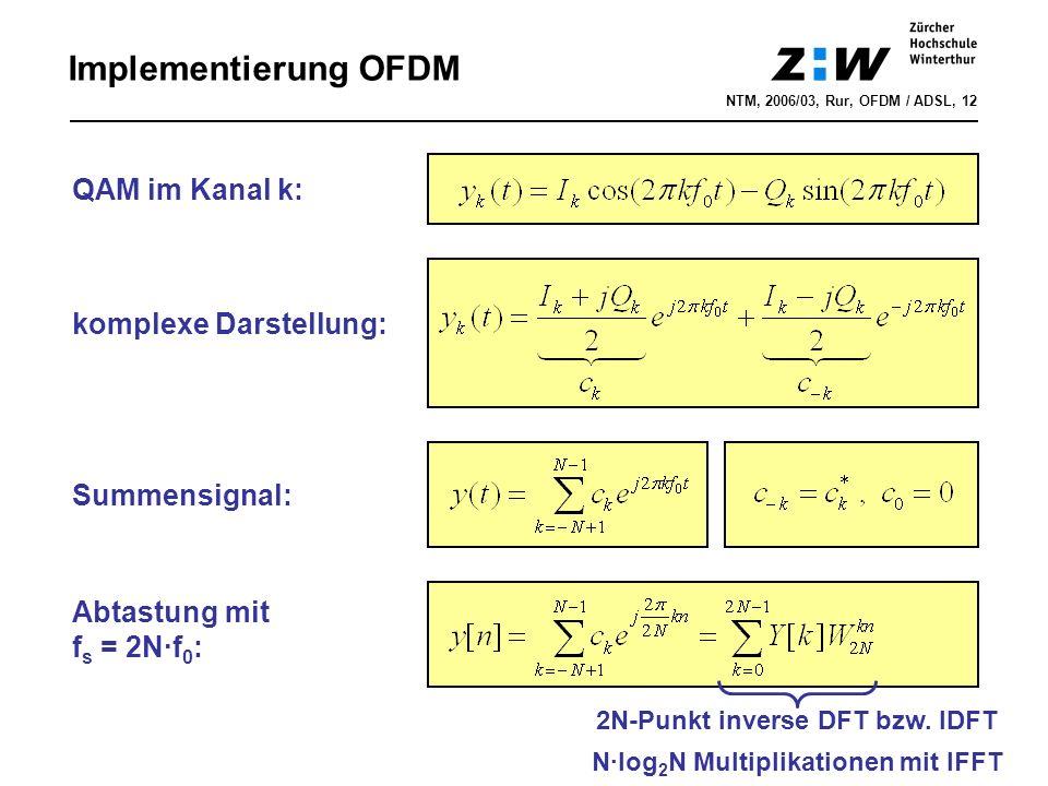 2N-Punkt inverse DFT bzw. IDFT N·log2N Multiplikationen mit IFFT