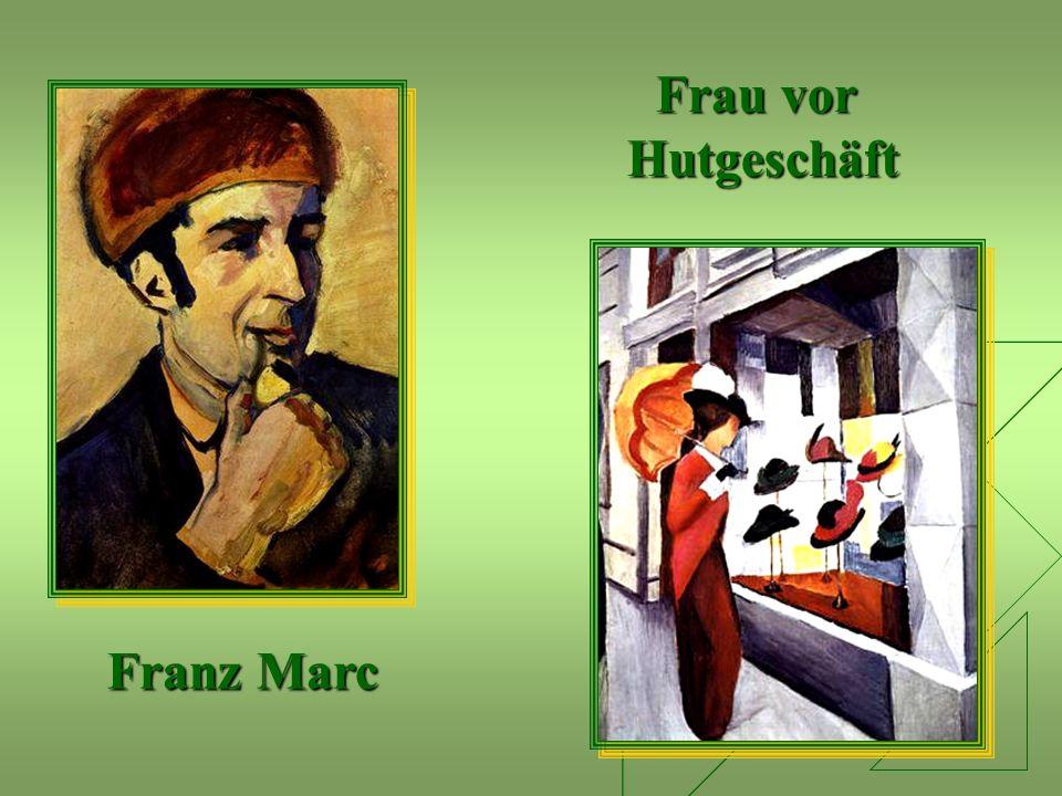 Frau vor Hutgeschäft Franz Marc