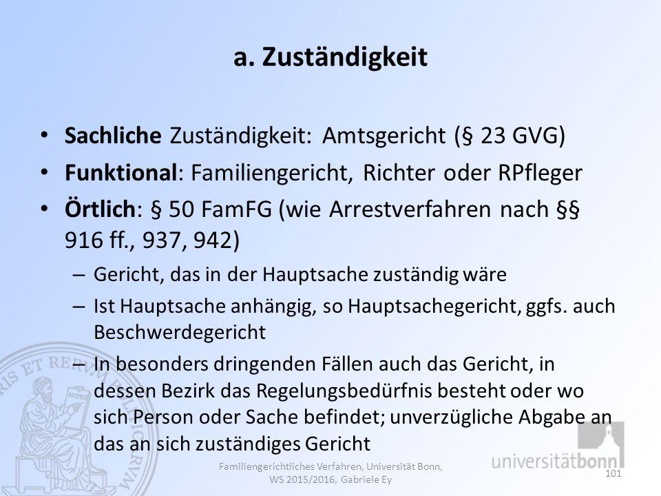 a. Zuständigkeit Sachliche Zuständigkeit: Amtsgericht (§ 23 GVG)