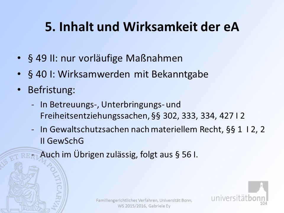 5. Inhalt und Wirksamkeit der eA