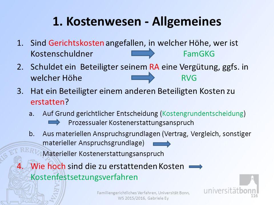 1. Kostenwesen - Allgemeines