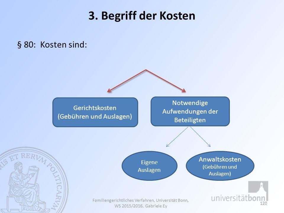 3. Begriff der Kosten § 80: Kosten sind: Notwendige Aufwendungen der