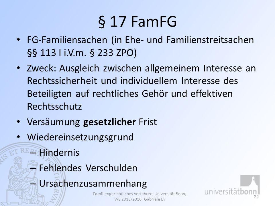 § 17 FamFG FG-Familiensachen (in Ehe- und Familienstreitsachen §§ 113 I i.V.m. § 233 ZPO)