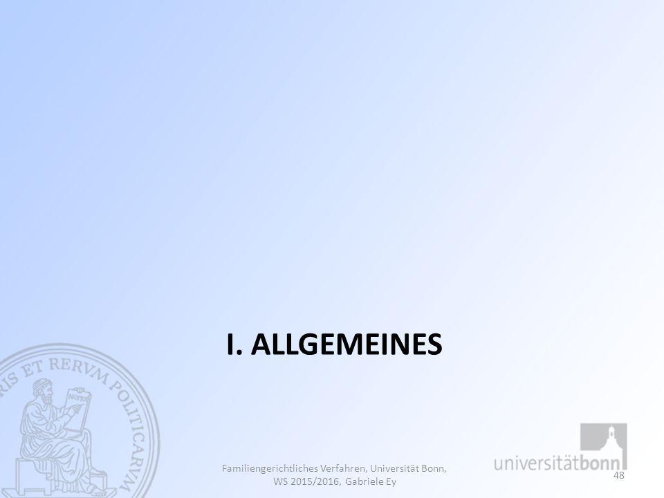 I. Allgemeines Familiengerichtliches Verfahren, Universität Bonn, WS 2015/2016, Gabriele Ey