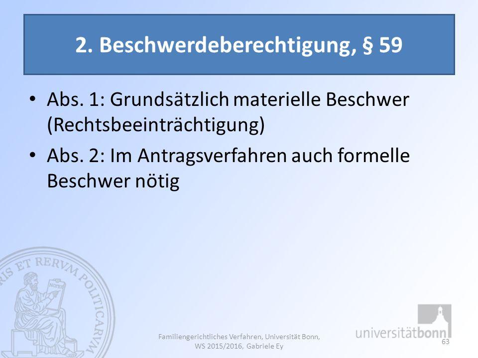 2. Beschwerdeberechtigung, § 59