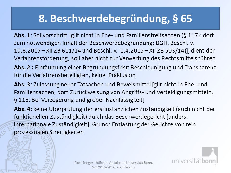 8. Beschwerdebegründung, § 65