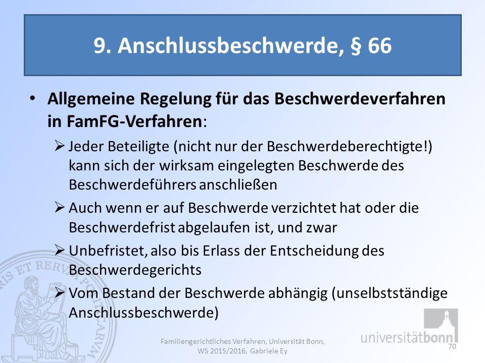 9. Anschlussbeschwerde, § 66