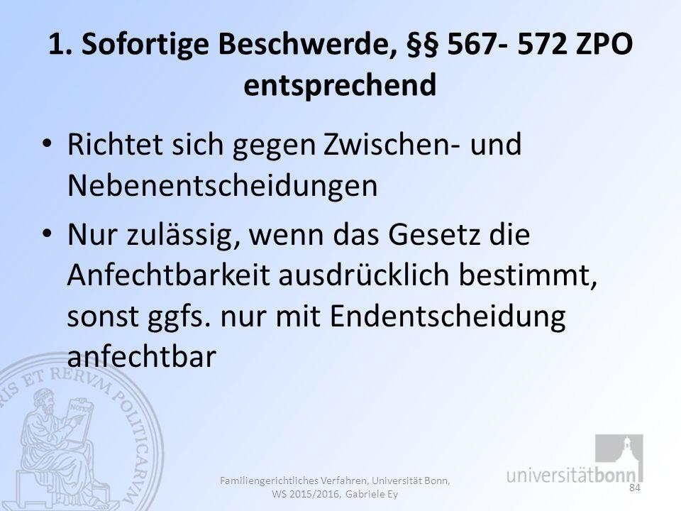 1. Sofortige Beschwerde, §§ 567- 572 ZPO entsprechend