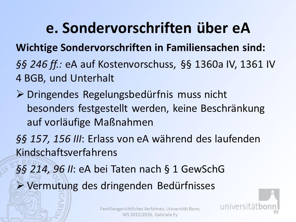 e. Sondervorschriften über eA