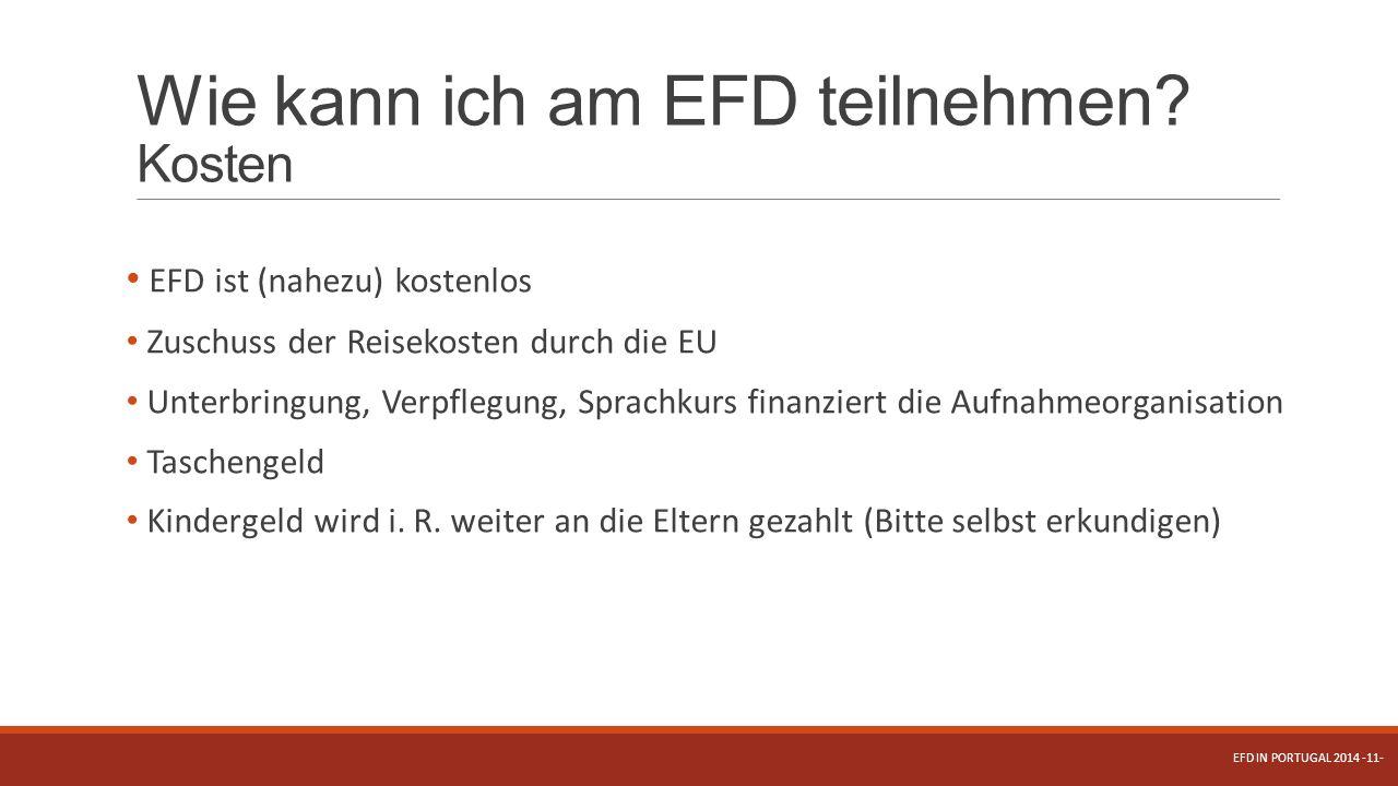 Wie kann ich am EFD teilnehmen Kosten