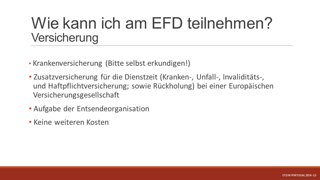 Wie kann ich am EFD teilnehmen Versicherung