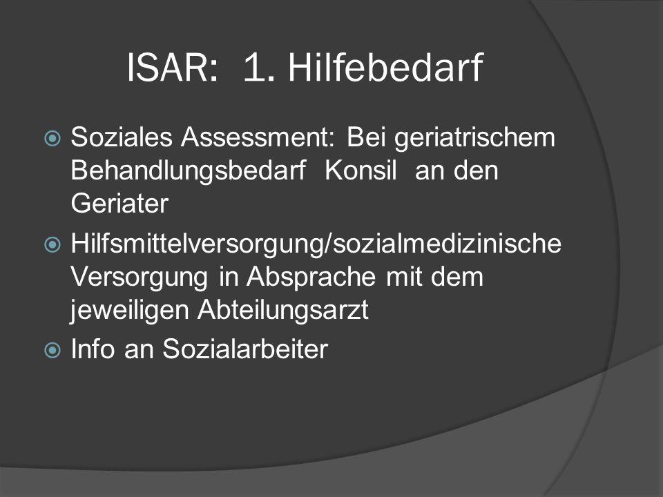 ISAR: 1. Hilfebedarf Soziales Assessment: Bei geriatrischem Behandlungsbedarf Konsil an den Geriater.