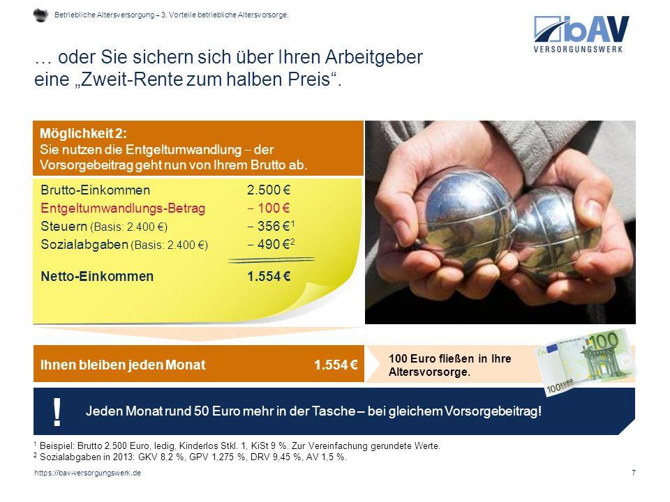 Betriebliche Altersversorgung ‒ 3. Vorteile betriebliche Altersvorsorge.