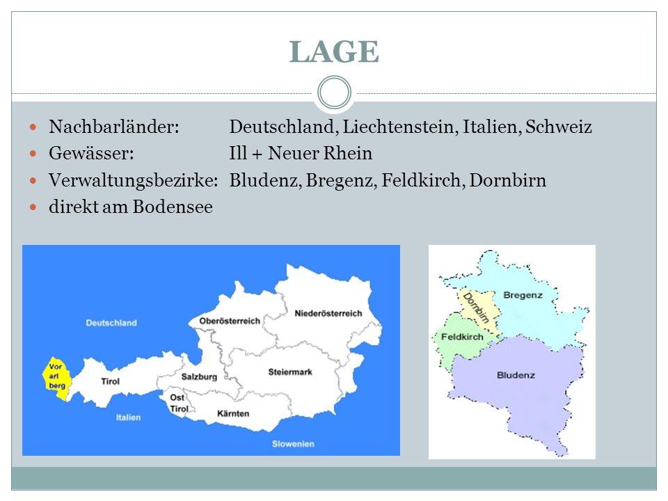 LAGE Nachbarländer: Deutschland, Liechtenstein, Italien, Schweiz