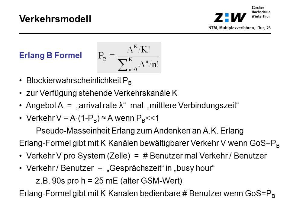Verkehrsmodell Erlang B Formel Blockierwahrscheinlichkeit PB
