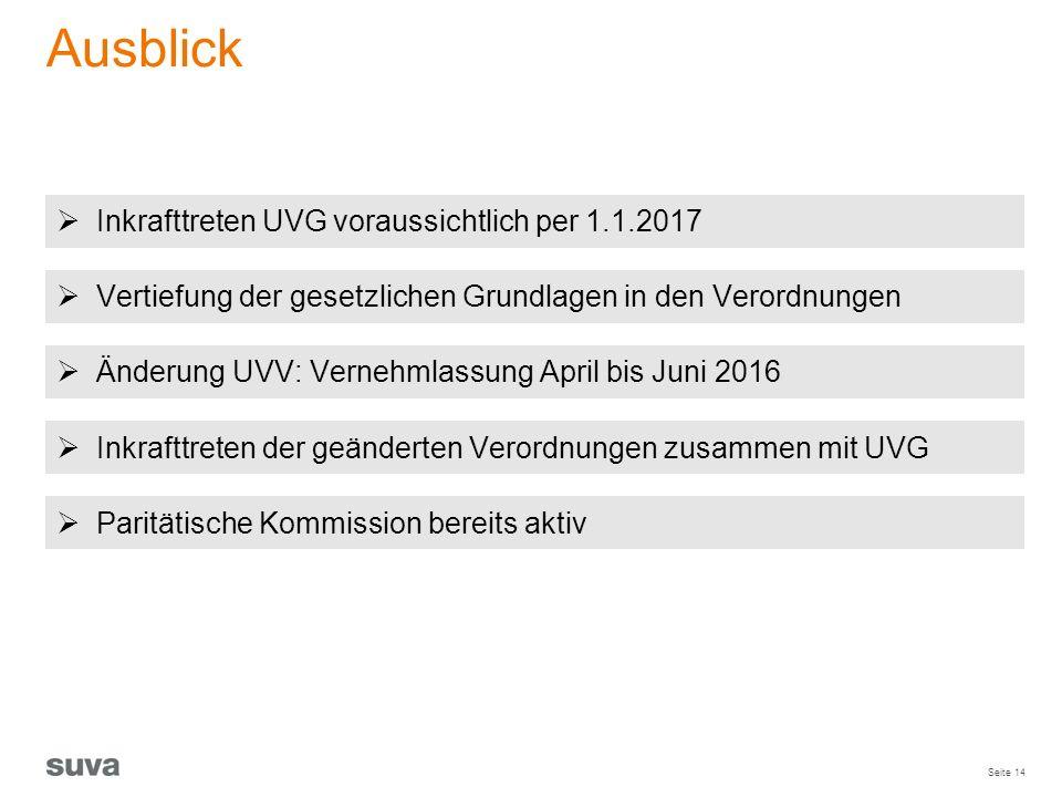 Ausblick Inkrafttreten UVG voraussichtlich per 1.1.2017