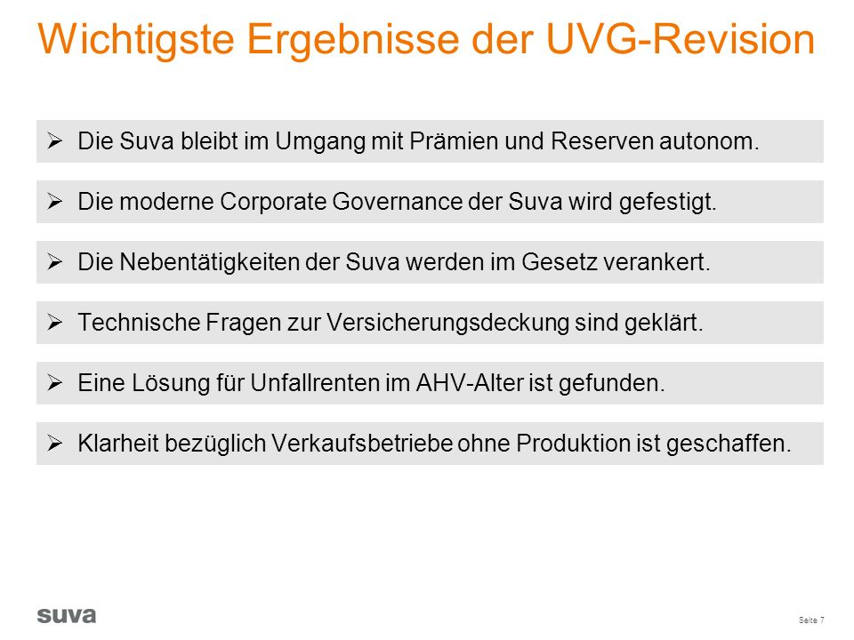 Wichtigste Ergebnisse der UVG-Revision