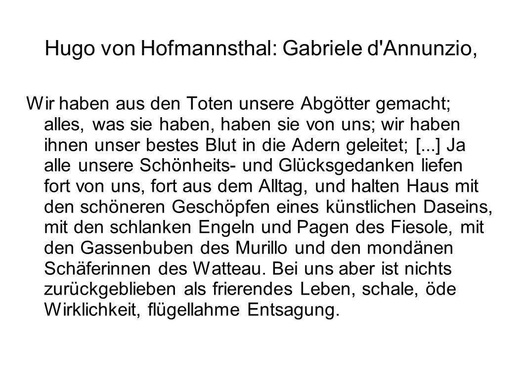 Hugo von Hofmannsthal: Gabriele d Annunzio,