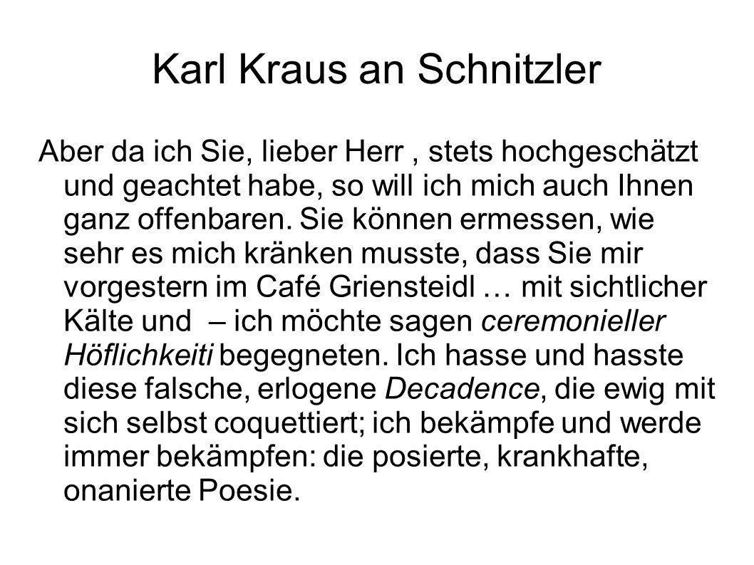 Karl Kraus an Schnitzler