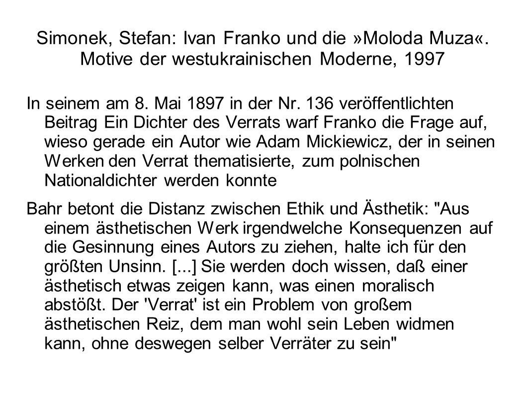 Simonek, Stefan: Ivan Franko und die »Moloda Muza«