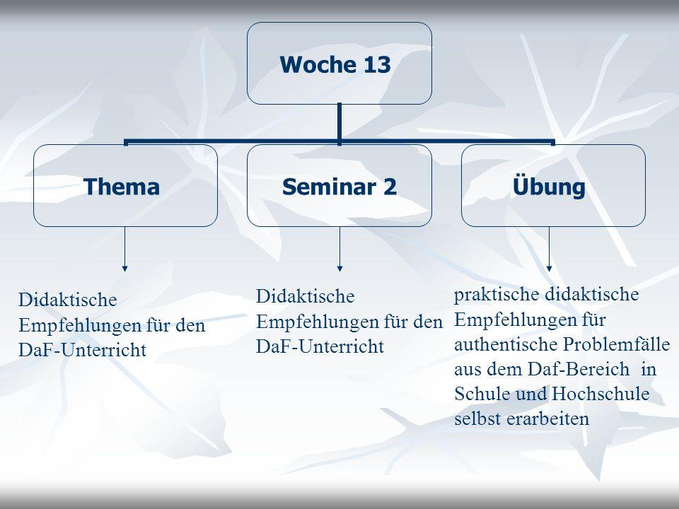 Didaktische Empfehlungen für den DaF-Unterricht
