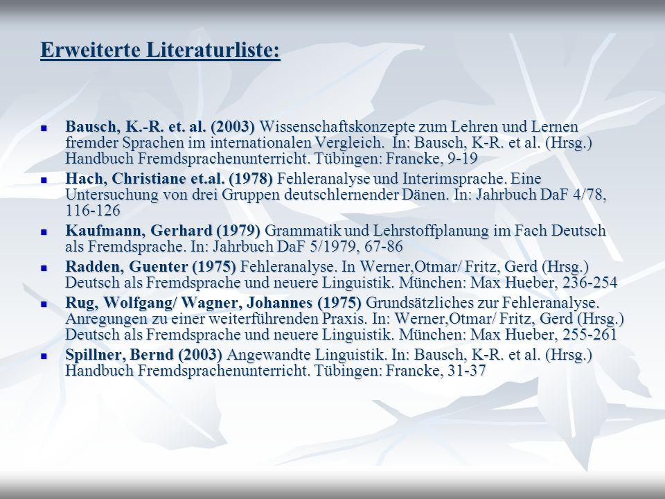 Erweiterte Literaturliste: