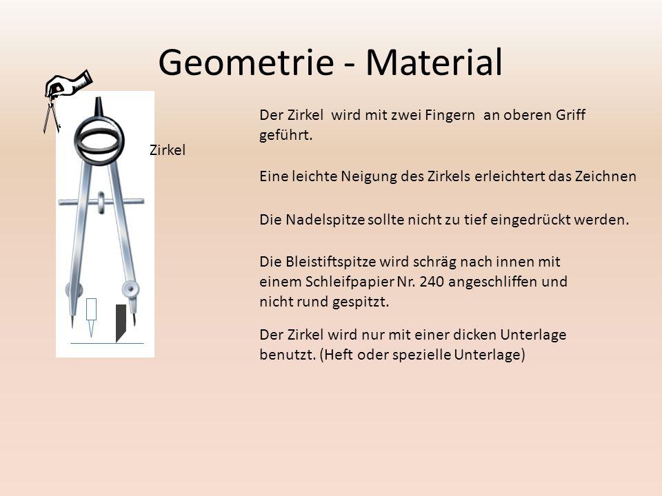 Geometrie - Material Der Zirkel wird mit zwei Fingern an oberen Griff