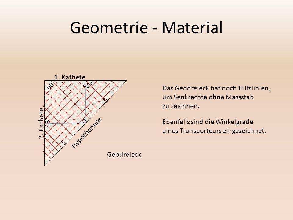 Geometrie - Material 90° 45° 5 1. Kathete