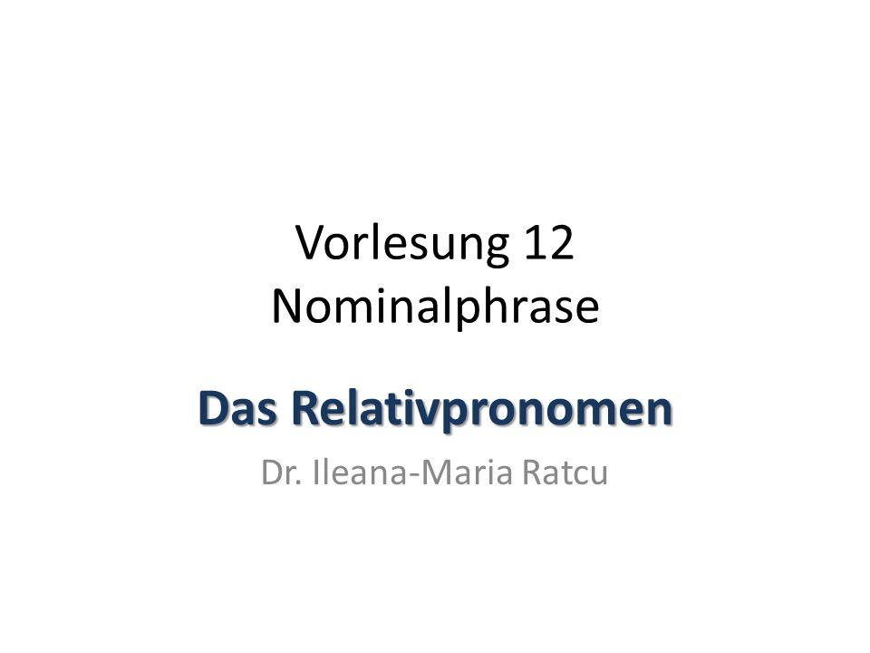 Vorlesung 12 Nominalphrase