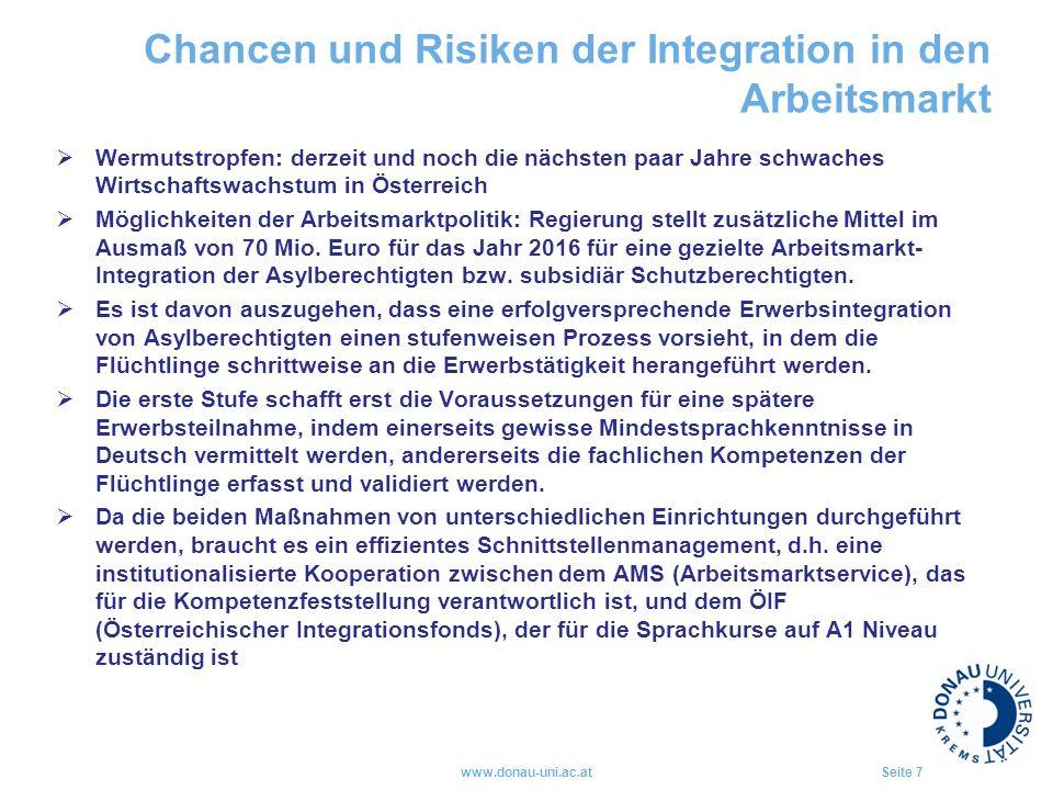 Chancen und Risiken der Integration in den Arbeitsmarkt